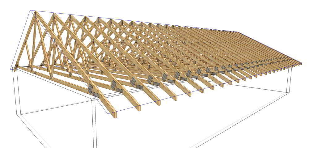 Attic roof truss design gallery of roof truss layout for Bonus room truss design